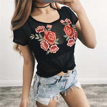 2017 Summer T Shirt Women Tops Sexy Ladies Slim Cotton Embroidered O Neck Short Sleeve tshirt Tees femme S M L