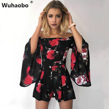 Wuhaobo Floral Print Jumpsuit Romper Women Elegant Off Shoulder Summer  Beach Overalls Sexy One Piece Playsuit Combishort Femme f93929bfd499