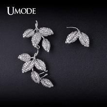UMODE Chic Leaf Shaped Mismatched Ear Cuff Stud Earrings for Women New Fashion Handcrafted Earring Hot Jewelry Orecchini UE0218(China)