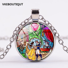 3/Color New Romantic Jewelry Glass Picture Pendant Beauty and The Beast Necklace Glass Pendant Art Pendant for Necklace Gifts(China)