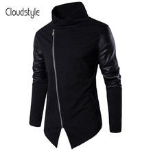 Cloudstyle 2018 Fashion Brand PU Leather Zipper Jackets Men Spring Slim Tihn Coat Turtlrneck Casual Mens Plus Size XXL Overcoat(China)