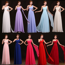 2017 new arrival bridesmaid dresses long chiffon for women one shoulder gowns light pink lavender fuchsia with crystal in stock