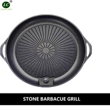 Nonstick BBQ Grills Wheat rice stone Pan fire Induction general-purpose Barbecue pot Round Roasting Plate Home Use(China)