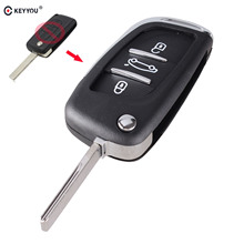 KEYYOU Flip Car Key Cover for PEUGEOT 406 407 408 308 307 107 207 Partner 3 Button Fob Case Car Symbol CE0536(China)
