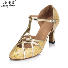 free shipping shengzixue brand Sequins With the soft bottom Latin dancing shoes women's high Adults with square dancing compani(China)