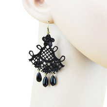 2015 Korean Fashion Gothic Imitation Gemstones Retro Black Lace Handmade Lace Earrings Female Jewelry Wholesale Free Shipping