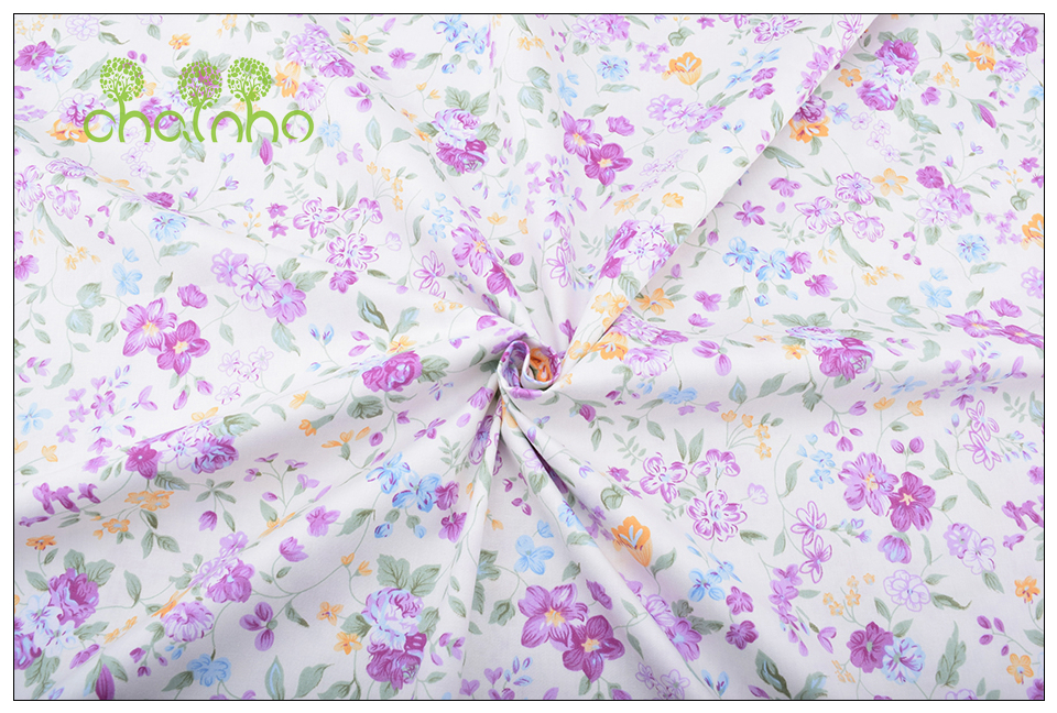 Chainho Twill Cotton Fabric,Patchwork Floral Tissue Cloth,DIY Sewing Quilting Fat Quarters Material For Baby&Children,5pcs/lot 16