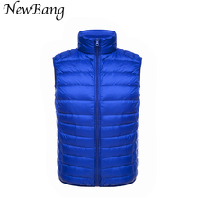 NewBang Men Warm Vest Ultra Light Duck Down Vest Winter Solid Sleeveless Jacket Men's Vests With Carry Bag
