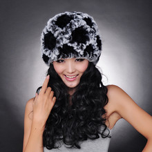 2017 Handmade Women's Fashion Natural Knitted Rex Rabbit Fur Hats Female Genuine Winter Women Fur Caps Lady Headgear Beanies(China)
