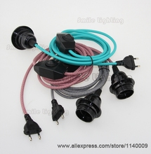 2m CE VDE Certified Pendant Lamp Cord Sets Euro Plug With Dimmer Switch With Bakelite Lampholder E27