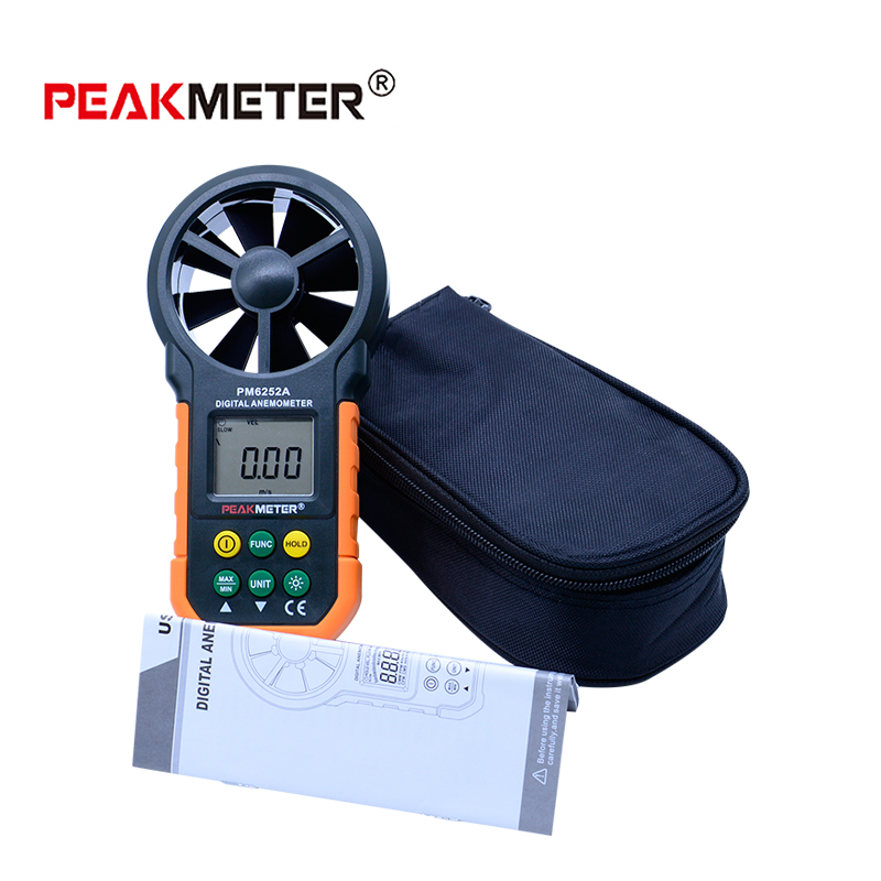 PEAKMETER PM6252A Digital Anemometer Handheld LCD Electronic Wind Speed Air Volume Measuring Meter With Backlight<br>