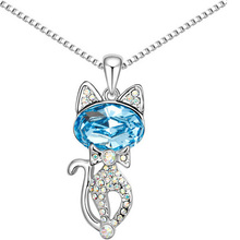 free shipping new arrival women accessories gift quality Austria Crystal cat catty pendant Necklace fashioon Jewelry Tiger Totem