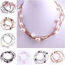"3row 10-12mm Natural Oval Freshwater Pearl Gem Stone Beads Fashion Style Leather Necklace 16"" Lobster Clasp 1 Pcs Free Shipping(China)"