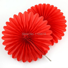 Free Shipping 8inch(20cm) Colorful Round Paper Fan Wedding Party Tissue Flower Fan Christmas Halloween Decoration Fan