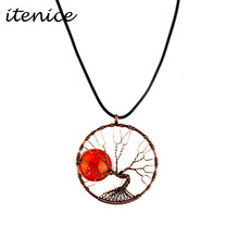 Itenice New Fashion Jewelry Brand Plant Rhinestone Metal Classic Life Tree Link Chains Necklaces Antique Brass For Women(China)