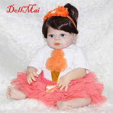 "DollMai 22"" full  silicone reborn baby dolls with orange princess dress pacifier bottle  children gift dolls bebe real reborn"