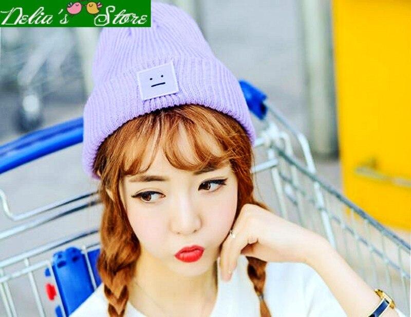 Fast Shipping!!!2016 Fashion Cute Candy Color Smile Ticker Women Knitting Beanies Lady Skullies Warm Winter HatÎäåæäà è àêñåññóàðû<br><br><br>Aliexpress