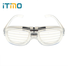ITimo Shutter LED Light Up 3 Mode For Holiday Party Wedding Sunglasses 4 Color Flashing Blink Glow Glasses Novelty Lighting(China)