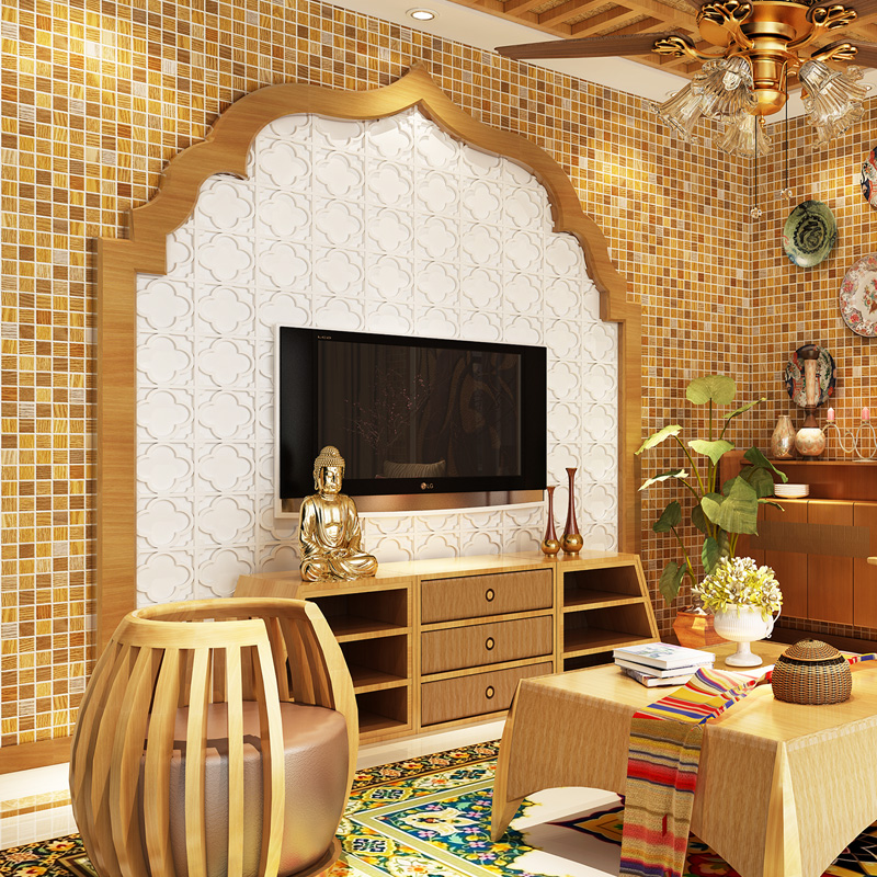 South asia style wood pattern small mosaic wallpaper abstract small square grid wall wallpaper<br>