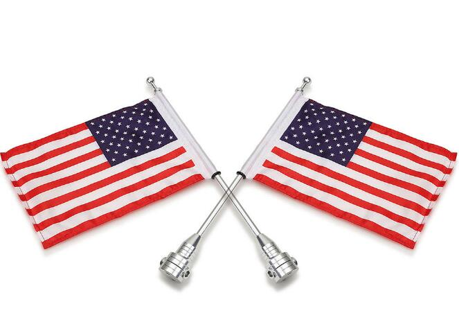 2PCS Motorcycle Chrome Rear Side Mount Flag Pole with USA Flag For Harley Davidson<br>