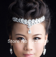 2017 New Fashion Waterdrop Rhinestone Bridal Tiaras Elegant Rhinestone Crown for Women Wedding Hair Jewelry Accessories