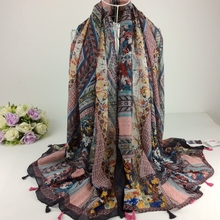 Mix Design Order Winter 2016 Floral Cotton Voile Scarf Tassel Scarf Muslim Hijab,Shawls And Scarves,Wraps Shawls,Muffler,Cape(China)