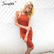 Simplee Lace up hollow out sweater knitted dress Women sleeveless winter bodycon dress vestidos Autumn elegant party sun dress(China)