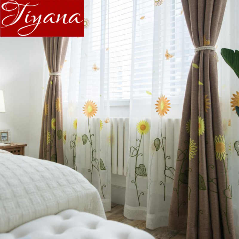 Sunflowers Curtains Butterfly Modern Living Room Kids Room Tulle Curtains Window Bedroom Sheer Fabrics Rustic Drapes X163 #30
