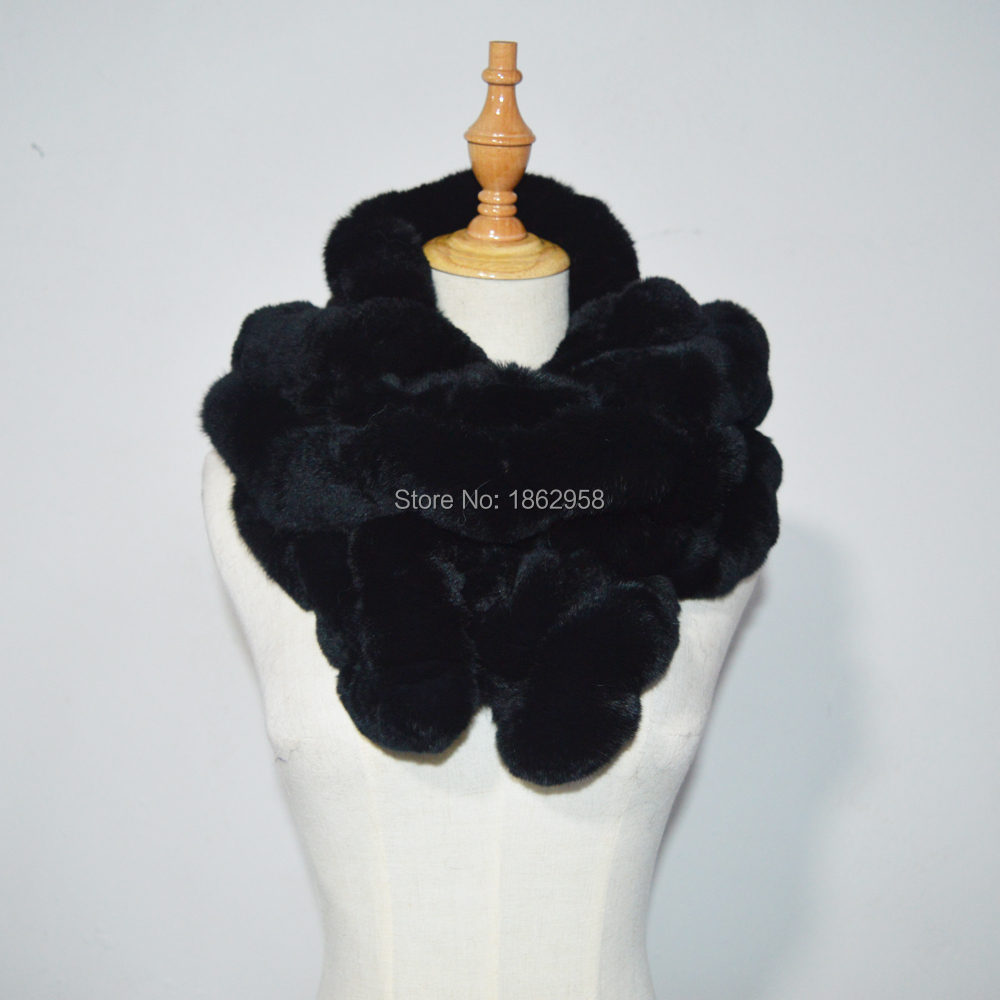 SJ779 Mexico Popular Selling Black Colored Women Long Rex Rabbit Fur Snoods Winter