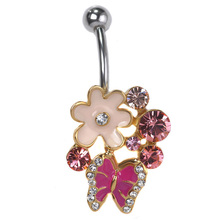 Blucome Pink Enamel Butterfly Flowers Body Piercing Navel Belly Button Rings Rasta Sex Lot Wholesale Vintage Jewelry Percing Vaz