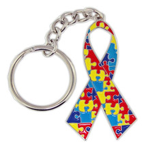 Stylish Fashion Factory Direct Selling Alloy Enamel Ribbon Autism Puzzle Piece Pendants Key Ring Key Chains(China)