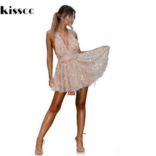 Sexy Hollow Out Backless Mini Sequined Summber Beach Dress Deep V Neck Cross Adjustable Straps Pleated Mini Dress with Knickers(China)