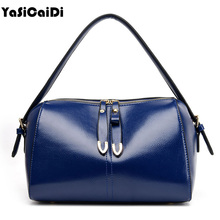 YASICADI Fashion PU Leather Women Handbags Double Zippers Messenger Bags Famous Brands Ladies Vintage Boston Tote Bag Sac A Main
