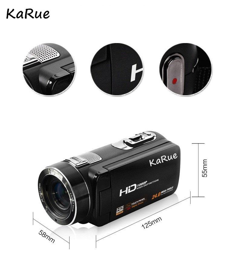Karue HDV-Z816x Digital Zoom Max. 24MP 1080P Full HD Digital Video Camera Camcorder with Digital Rotation LCD Touch Screen 6