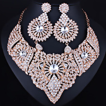 FARLENA Jewelry Full Clear Rhinestones Statement Necklace and Earrings for Women Indian Bridal Wedding Jewelry sets(China)