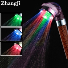 colorful bathroom led light shower control sprinkler water temperature led shower head rainfall water saving shower head ZJ081