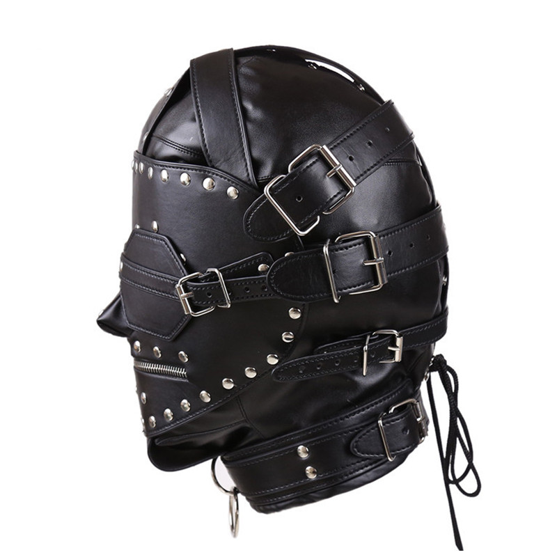 PU Leather BDSM Bondage Mask Full Head Harness Fetish with Blindfold and Zipper Locking Sex Slave Head Hood Sex Toys For Couples<br>