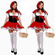 2017 new high quality Sexy Little Red Riding Hood Costume Small Red Cap new Year dress Halloween Costumes for Women Party Dress