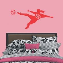 Personalized Girls Name with Number Football Soccer Ball Vinyl Wall Decals Art Wall Stickers for Kids Rooms Decoration