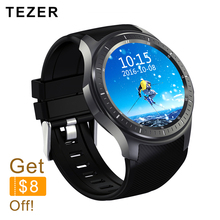 TEZER Quad core 512MB+8GB ROM Heart Rate Monitor smart Watch for Android 5.1 2G 3G WiFi GPS SIM Card Anti lost Google Passometer