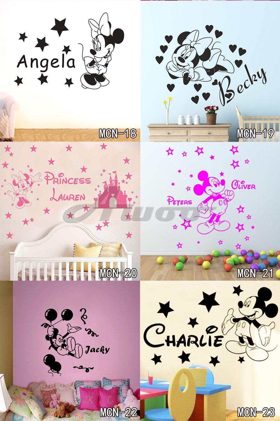 HTB1Yel RpXXXXbWXXXXq6xXFXXXy - Baby Mickey Mouse Warm Custom Name Wall Sticker For Kids Room