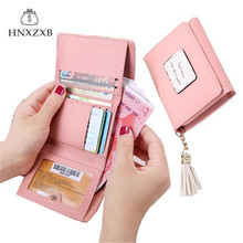 HNXZXB Global Sell Leather Female Tassel Short Three Fold Wallet Woman Hasp Simple Coin Purse Girls Letter Money Bag Card Pack(China)