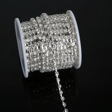 10 yards/roll Bright Strass Silver Base Densify Claw SS16(3.8-4.0mm) Crystal Rhinestone Cup Chain For Bags Design