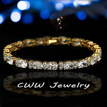 CWWZircons Luxury Yellow Gold Color Pure Whiteness Cubic Zirconia Pear Shaped Crystal Women Tennis Bracelets For Gift  CB048