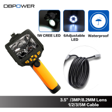 DBPOWER NTS200 3.5'' LCD 3MP 720P Borescope Endoscope 8.2mm 1/2/3/5M Probe 6Led 4XZoom Inspection VideoCam 360Degree Rotate Flip