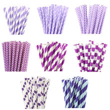 25pcs Purple Stripe Dot Paper Straws for birthday wedding decorative party event Drinking Straws supplies(China)