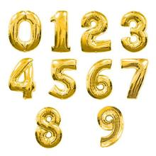 32 inches Gold Number Foil Balloons Digit Helium Ballons Birthday Party Wedding Decor Air Baloons Event Party