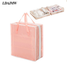 LDAJMW Portable Organizer Travel Home Tote Bag For Shoes Pouch Ventilation Folding  Waterproof Oxford Zipper Storage Bag