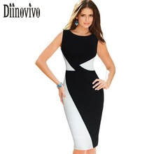 Womens Classic Black White Colorblock Patchwork Dress O Neck Sleeveless Wear to Work Party Bodycon Sheath Pencil Dresses 78