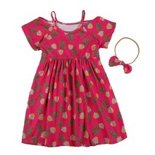 1 ~ 5 Year Old Europe And The United States Style Girl Dresses Glasses Pineapple Printing Rose Red Strapless Dress To Send Bow T